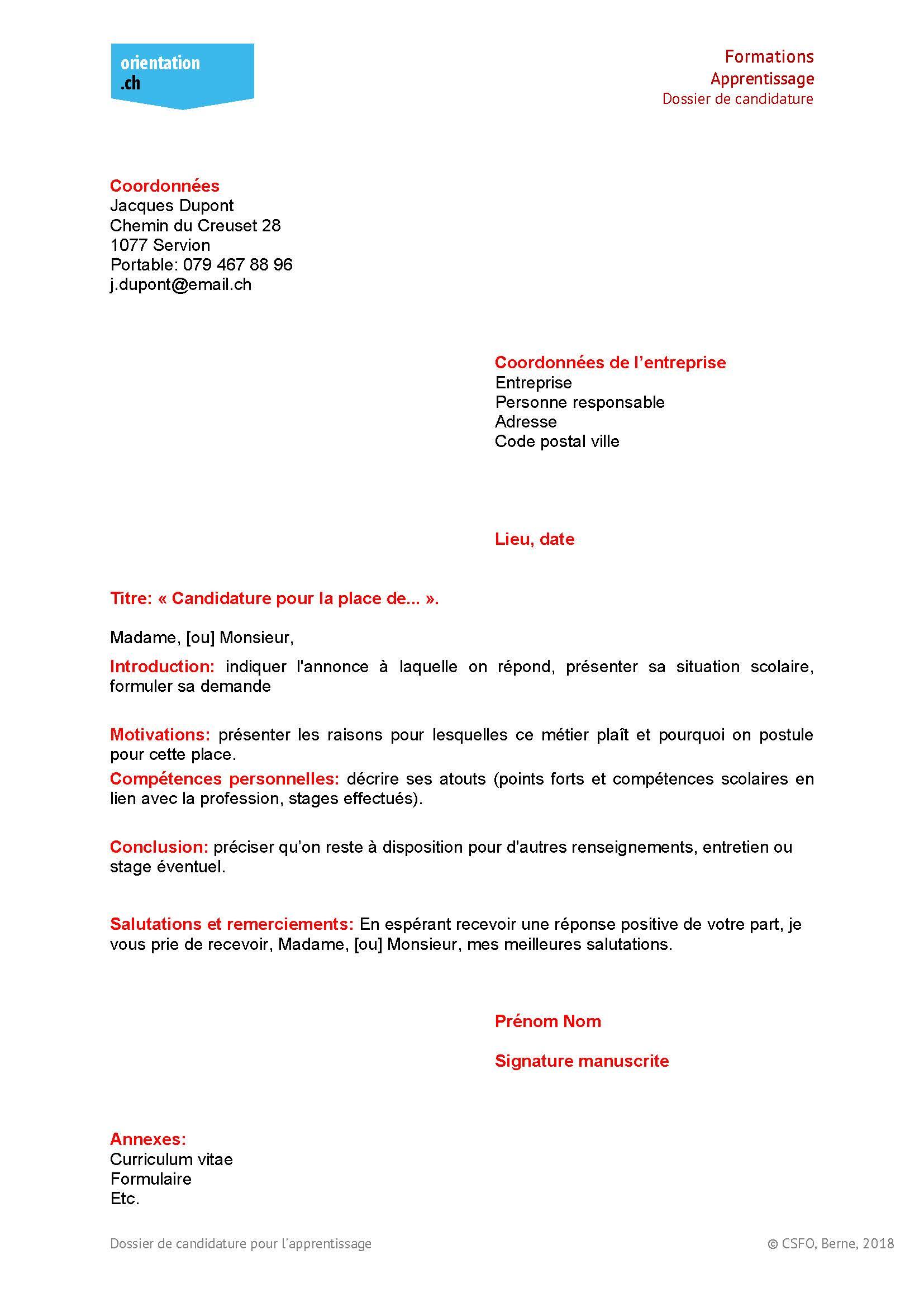 Dossier De Candidature Pour L Apprentissage Test Orientation Ch